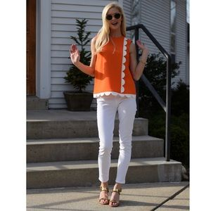 Victoria Beckham for Target Orange Scalloped Top